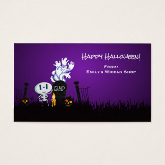 Halloween Graveyard Spooky Cute Skeleton & Ghosts Business Card