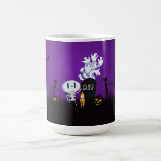 Halloween Graveyard Spooky Cute Skeleton & Ghosts Coffee Mug
