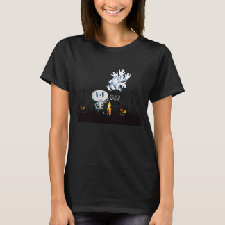 Halloween Graveyard Spooky Cute Skeleton & Ghosts T-Shirt