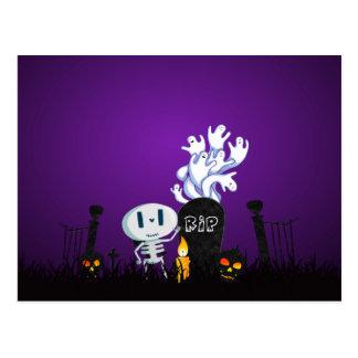 Halloween Graveyard Spooky Cute Skelton And Ghosts Postcard