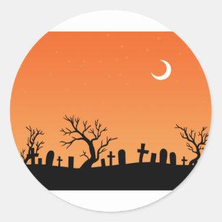 Halloween Graveyard Round Stickers