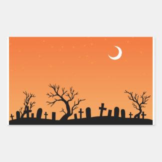 Halloween Graveyard Rectangular Sticker