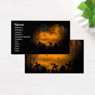 Halloween Graveyard with Bats and Tombstones Business Card