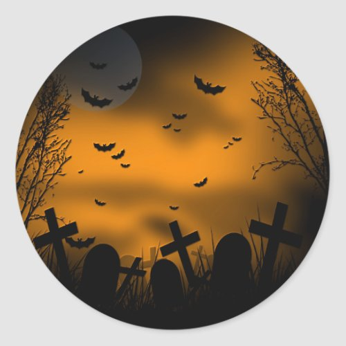 Halloween Graveyard with Bats and Tombstones Classic Round Sticker