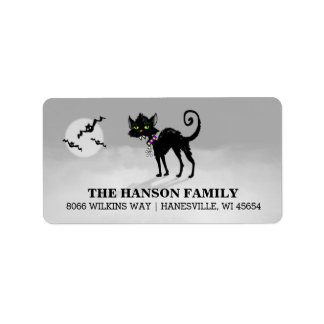 Halloween Gray Address Label - Black Cat