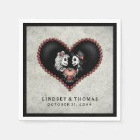 Halloween Gray & Black Skeletons & Heart Wedding Paper Napkin