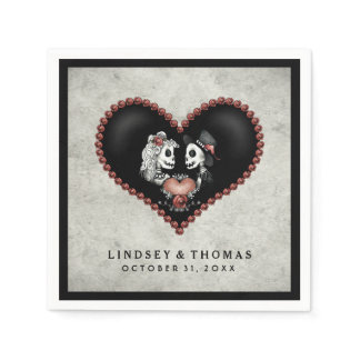Halloween Gray & Black Skeletons & Heart Wedding Paper Napkin