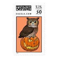 Halloween Great Horned Owl Large Stamp 2.5