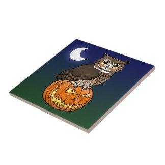 Halloween Great Horned Owl Tile