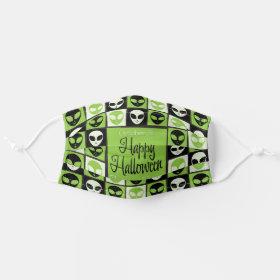 Halloween Green Alien Mosaic Cloth Face Mask