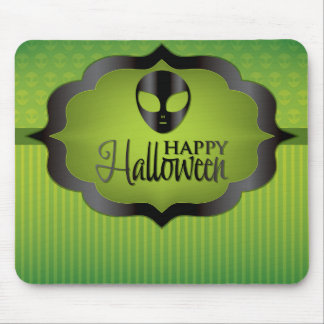 Halloween green alien mouse pad