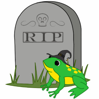 Halloween Green Frog Witch with RIP Grave Stone Photo Sculpture Ornament