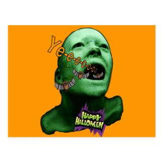 Halloween Green goul Postcard