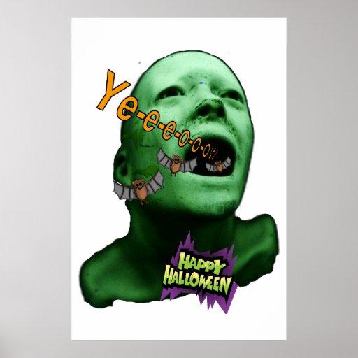 Halloween Green goul Poster