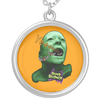 Halloween Green goul Silver Plated Necklace