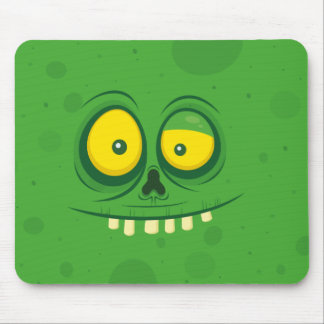 Halloween Green Monster Face Mouse Pad