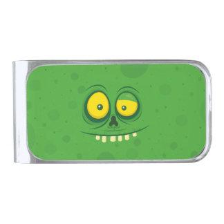 Halloween Green Monster Face Silver Finish Money Clip