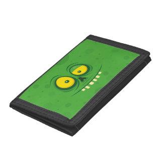 Halloween Green Monster Face Trifold Wallet