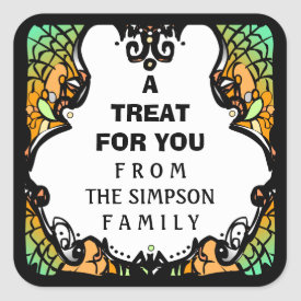 Halloween Green Orange & Black Custom Treat Label Square Sticker