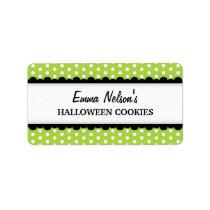Halloween green polka dot pattern canning jar address label