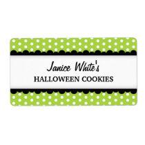 Halloween green polka dot pattern canning jar shipping label
