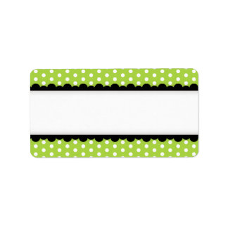 Halloween green polka dots black scalloped border personalized address labels