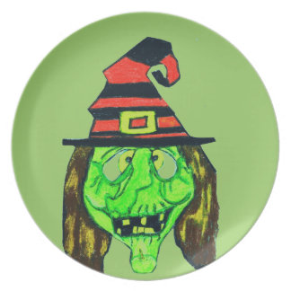 HALLOWEEN GREEN UGLY WITCH plate