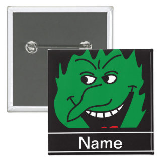 Halloween Green Witch Face Personalize Buttons