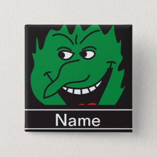 Halloween Green Witch Face Personalize Pinback Button