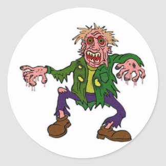 Halloween Green Zombie Monster Classic Round Sticker