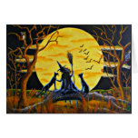 Halloween Greeting Card, witch,bats,black,cats Card