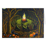Halloween Greeting Card,witches,coven,stars,grove