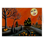 Halloween Greeting Card ,witches,Jack-O-Lanterns