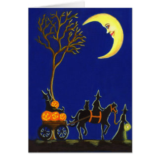Halloween greeting card witches moon pumpkins