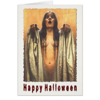 Halloween Greeting Card With Creepy Girl