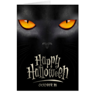 Halloween Greeting Card With feline look
