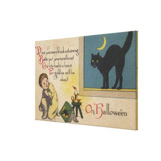 Halloween GreetingBlack Cat Canvas Print