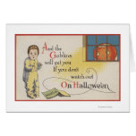 Halloween GreetingGoblin in Window Card
