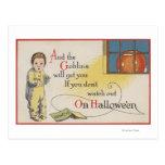 Halloween GreetingGoblin in Window Post Card