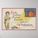 Halloween GreetingGoblin in Window Print