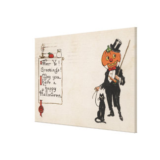 Halloween GreetingJack-O-Lantern in Tux Canvas Print