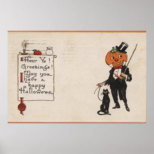 Halloween GreetingJack-O-Lantern in Tux Poster