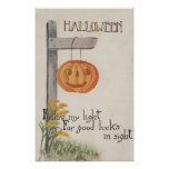 Halloween GreetingJack-O-Lantern on Post Print