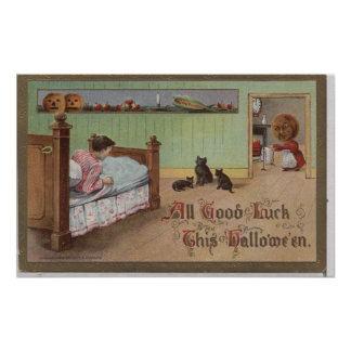 Halloween GreetingKid in Bed Poster