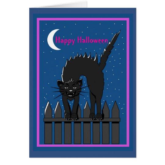 Halloween Greetings Black Cat Card