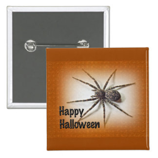 Halloween Greetings - Dolomedes tenebrosus Spider 2 Inch Square Button