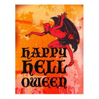 """Halloween greetings from a devil """"Happy Helloween"""" Postcards"""
