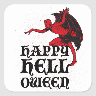 """Halloween greetings from a devil """"Happy Helloween"""" Square Sticker"""