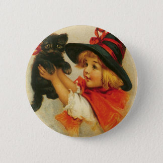 Halloween Greetings from a Girl and Her Kitten Button