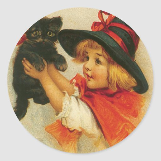 Halloween Greetings from a Girl and Her Kitten Classic Round Sticker